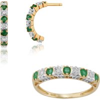 Classic Round Emerald and Diamond Half Hoop Earrings and Half Eternity Ring Set in 9ct Yellow Gold