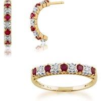 Classic Round Ruby & Diamond Half Hoop Earrings & Half Eternity Ring Set in 9ct Yellow Gold