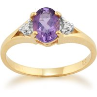 Classic Amethyst and Diamond Ring in 9ct Yellow Gold