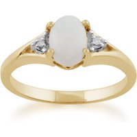 Classic Oval Opal and Diamond Ring in 9ct Yellow Gold