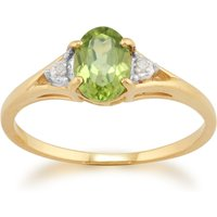 Classic Oval Peridot and Diamond Ring in 9ct Yellow Gold