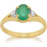 Classic Oval Emerald and Diamond Ring in 9ct Yellow Gold