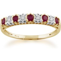 Classic Ruby and Diamond Half Eternity 9ct Yellow Gold  Ring