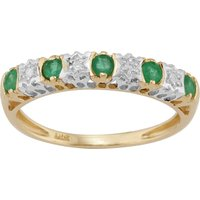 Classic Emerald and Diamond Eternity Ring in 9ct Yellow Gold