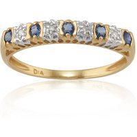 Classic Round Blue Sapphire and Diamond Half Eternity Ring in 9ct Yellow Gold