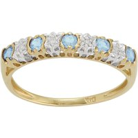 Classic Round Blue Topaz and Diamond Eternity Ring in 9ct Yellow Gold