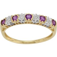 Classic Round Amethyst and Diamond Half Eternity Ring in 9ct Yellow Gold