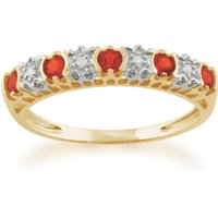 Classic Round Fire Opal and Diamond Half Eternity Ring in 9ct Yellow Gold