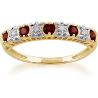 Classic Round Garnet & Diamond Half Eternity Ring in 9ct Yellow Gold