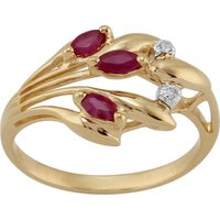 Floral 0.24ct Marquise Ruby and Diamond 9ct Yellow Gold  Ring