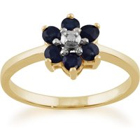 Floral Round Sapphire and Diamond Cluster Ring in 9ct Yellow Gold