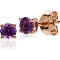 Classic Round Amethyst Claw Set Stud Earrings in 9ct Rose Gold