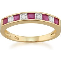 Classic Square Ruby and Diamond Half Eternity Ring in 9ct Yellow Gold