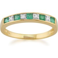 Classic Square Emerald and Diamond Half Eternity Ring in 9ct Yellow Gold