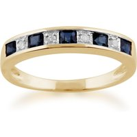 Classic Square Sapphire and Diamond Half Eternity Ring in Yellow 9ct Gold