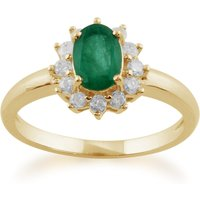 Classic Oval Emerald and Diamond Cluster Ring in 9ct Yellow Gold