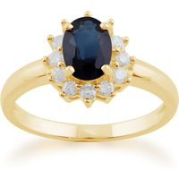 Classic Oval Sapphire and Diamond Cluster Ring in 9ct Yellow Gold