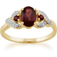 Classic Oval Mozambique Garnet and Diamond Ring in 9ct Yellow Gold