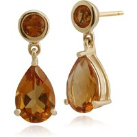 Classic Pear and Round Citrine Drop Earrings in 9ct Yellow Gold