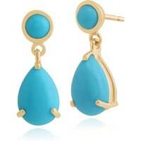 Classic Pear & Round Turquoise Drop Earrings in 9ct Yellow Gold