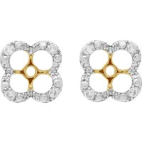 Floral Round Diamond Clover Shape Earrings Jacked in 9ct Yellow Gold