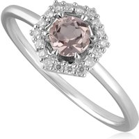 9ct White Gold 0.378ct Morganite and Diamond Halo Engagement Ring