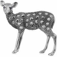 Gemondo Sterling Silver Sapphire & Marcasite Deer Brooch