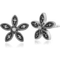 Floral Round Marcasite Flower Stud Earrings in 925 Sterling Silver