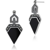 Art Deco Style Black Onyx Cabochon and Marcasite Drop Earrings in 925 Sterling Silver