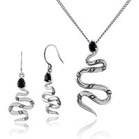 Art Nouveau Style Style Pear Black Spinel and Marcasite Snake Drop Earrings and Necklace Set in 925 Sterling Silver