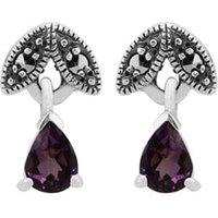 Art Nouveau Style Pear Amethyst & Marcasite Drop Earrings in 925 Sterling Silver
