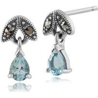 Art Nouveau Style Pear Aquamarine and Marcasite Drop Earrings in 925 Sterling Silver