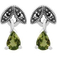 Art Nouveau Style Pear Peridot & Marcasite Drop Earrings in 925 Sterling Silver