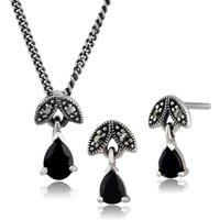 Art Deco Style Pear Sapphire and Marcasite Leaf Stud Earrings and Pendant Set in 925 Sterling Silver