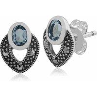 Art Deco Style Oval Blue Topaz & Marcasite Stud Earrings in 925 Sterling Silver