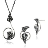 Art Nouveau Style Style Round Marcasite Twisted Leaf Stud Earrings & Pendant Set in 925 Sterling