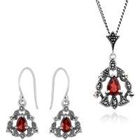 Art Nouveau Style Style Pear Garnet & Marcasite Garland Halo Drop Earrings & Pendant Set in