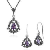 Art Nouveau Style Pear Amethyst and Marcasite Garland Drop Earrings and Pendant Set in 925 Sterling Silver