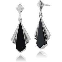 Art Deco Style Black Onyx & Marcasite Fan Drop Earrings in 925 Sterling Silver
