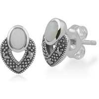 Art Deco Style Oval Opal and Marcasite Stud Earrings in 925 Sterling Silver