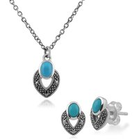 Art Deco Style Oval Turquoise and Marcasite Stud Earrings and Pendant Set in 925 Sterling Silver