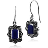 Art Deco Style Octagon Lapis Lazuli & Marcasite Drop Earrings in 925 Sterling Silver