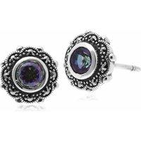 Sterling Silver Mystic Green Topaz & Marcasite Art Nouveau Stud Floral Earrings