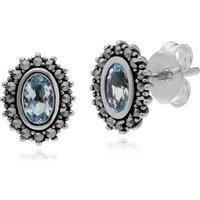 Sterling Silver Blue Topaz & Marcasite November Art Nouveau Stud Earrings