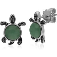 Classic Round Green Jade and Marcasite Turtle Stud Earrings in 925 Sterling Silver