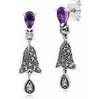 Gemondo Sterling Silver Amethyst and Marcasite Bell Drop Earrings