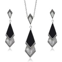 Art Deco Style Style Black Onyx and Mother of Pearl Fan Drop Earrings and Necklace Set in 925 Sterling Silver