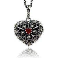 Art Nouveau Style Heart Cornelian and Marcasite Locket on Chain in 925 Sterling Silver