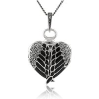 Art Nouveau Style Round Marcasite and Black Enamel Angel Wing Heart Locket on Chain in 925 Sterling Silver
