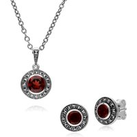 Art Deco Style Round Garnet and Marcasite Cluster Stud Earrings and Pendant Set in 925 Sterling Silver